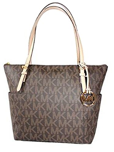 Michael Kors Jet Set EW Top Zip Tote PVC MK Signature Brown