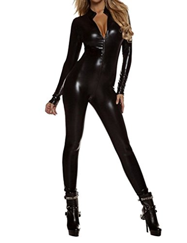 Quesera Women's Sexy Catsuit Long Sleeve One Piece Stretchy Metallic Full Bodysuit, Black, TagsizeL=USsizeXS
