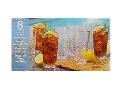 8 Piece Clear Acrylic Tumbler Set, 24oz - Suitable for Indoors & Outdoors, BPA-Free & Durable