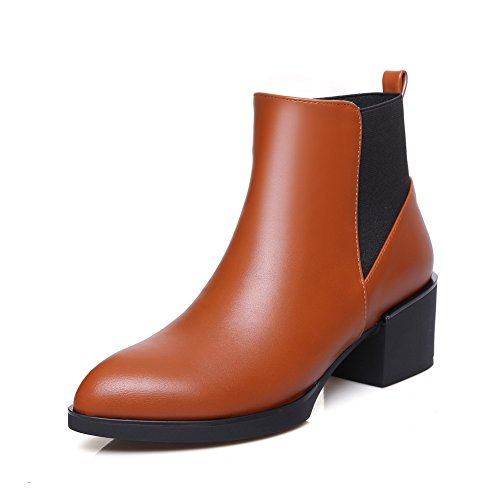 A&N Ladies Chunky Heels Elastic Band Round Toe Imitated Leather Boots Brown z3dirlUnBY