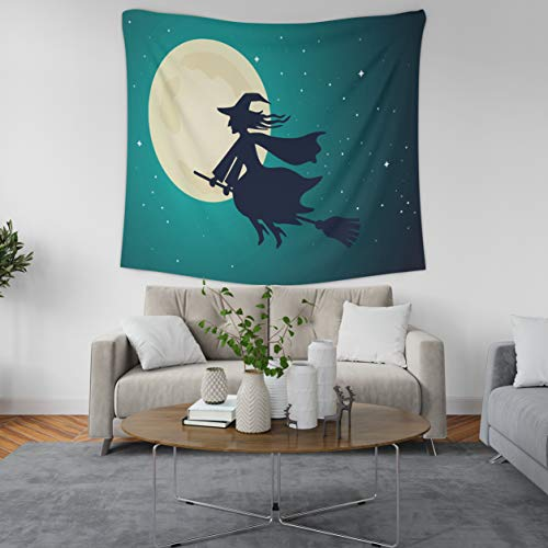 ASOCO Tapestry Wall Handing The Old Witch Flies On A Broomstick in The Night Sky of The Full Moon Halloween Wall Tapestry for Bedroom Living Room Dorm 50X60 Inches ()