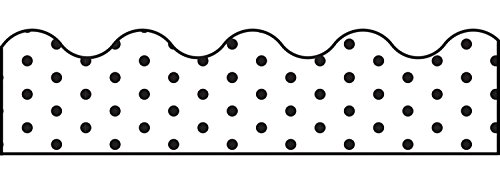 Schoolgirl Style Industrial Chic Scalloped Borders, White with Black Dots (108340)