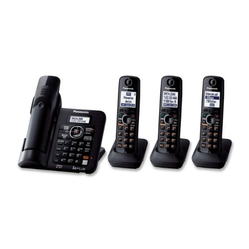 Panasonic KX-TG6644B DECT 6.0 Cordless Phone with Answering System, Black, 4 - Dect Single Telephone