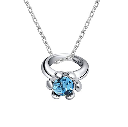 Winter's Secret Blue Austrian Crystal Flower Ring Pendant Personality Silver Plated Clavicle Necklace