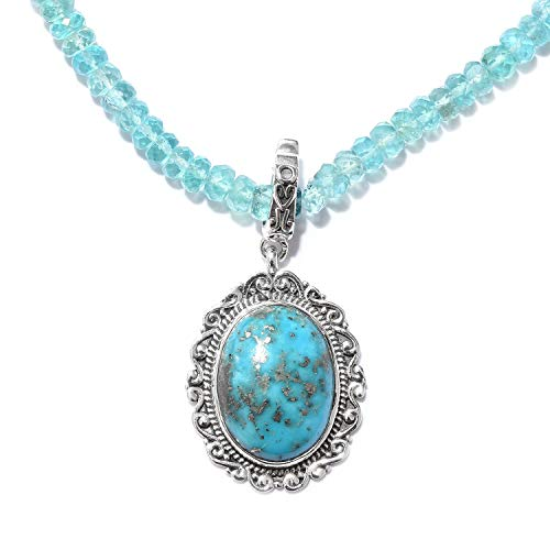 - Boho Handmade Persian Turquoise 925 Sterling Silver Pendant with Paraiba Apatite Beads Necklace 20