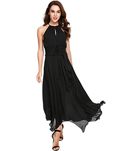 ANGVNS Womens Cold Shoulder Halter Belt Waisted Bandage Asymmetrical Pleated Chiffon Long Prom Dress(Black,S)