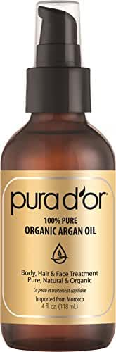 PURA D'OR Organic Moroccan Argan Oil 100% Pure Cold Pressed & USDA Organic Anti-Aging For Face, Hair, Skin & Nails, 4 Fluid Ounce ( packaging may vary )