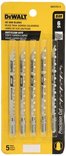 DEWALT DW3753-5 4-Inch 6 TPI Fast Clean Cut Wood Cobalt Steel T-Shank Jig Saw Blade (5-Pack)