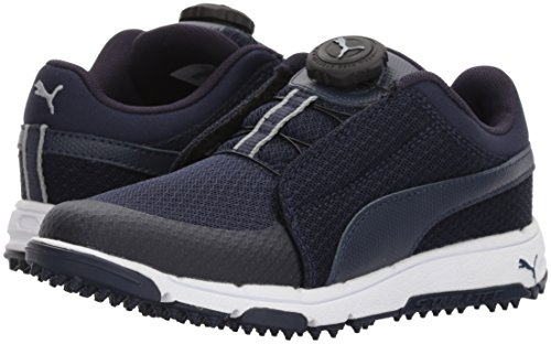 PUMA Golf Boys' Grip Sport Kid's Disc Golf Shoe, Peacoat/Quarry, 3 Youth US Big