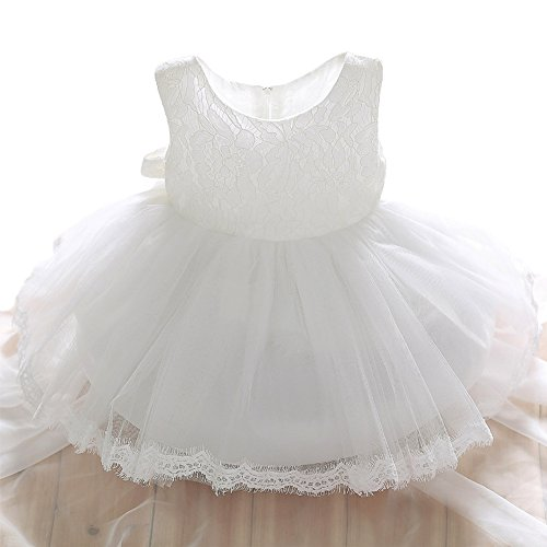 SZYL Baby Girls Lace Baptism Flower Dress Wedding Pegeant Tutu (12-24 Months, white)