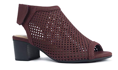 (J. Adams Maddie Cutout Bootie - Adjustable Band Slip On Low Stacked Heel Shoes, Vino Nbpu, 10)