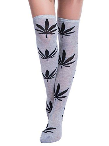 TooPhoto Womens Marijuana Maple Leaves Athletic Colorful Knee High Stockings K Grey & Black (Women Superheroes Fancy Dress)