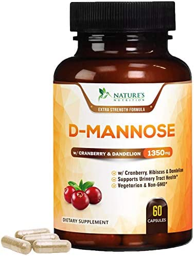 Nature s Nutrition D-Mannose Capsules 1350mg with Cranberry Extra Strength Urinary Tract Cleanse – High Potency UTI Support – Made in USA – Natural Pills w Dandelion Hibiscus – 60 Capsules