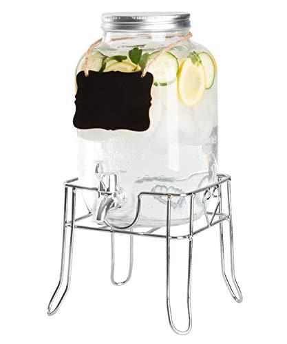 Outdoor Glass Beverage Dispenser with Sturdy Metal Base & Hanging Chalkboard - Drink Dispenser for Lemonade, Tea, Cold Water & More - Glass Lemonade Dispenser