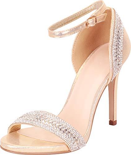 - Cambridge Select Women's Open Toe Ankle Strap Crystal Rhinestone Stiletto Heel Dress Sandal,10 B(M) US,Gold Shimmer