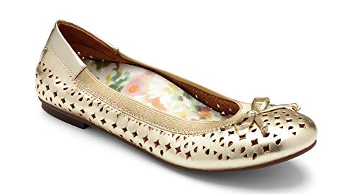 Vionic Women's Spark Surin Ballet Flat - Ladies Flats with Concealed Orthotic Arch Support Gold 8W