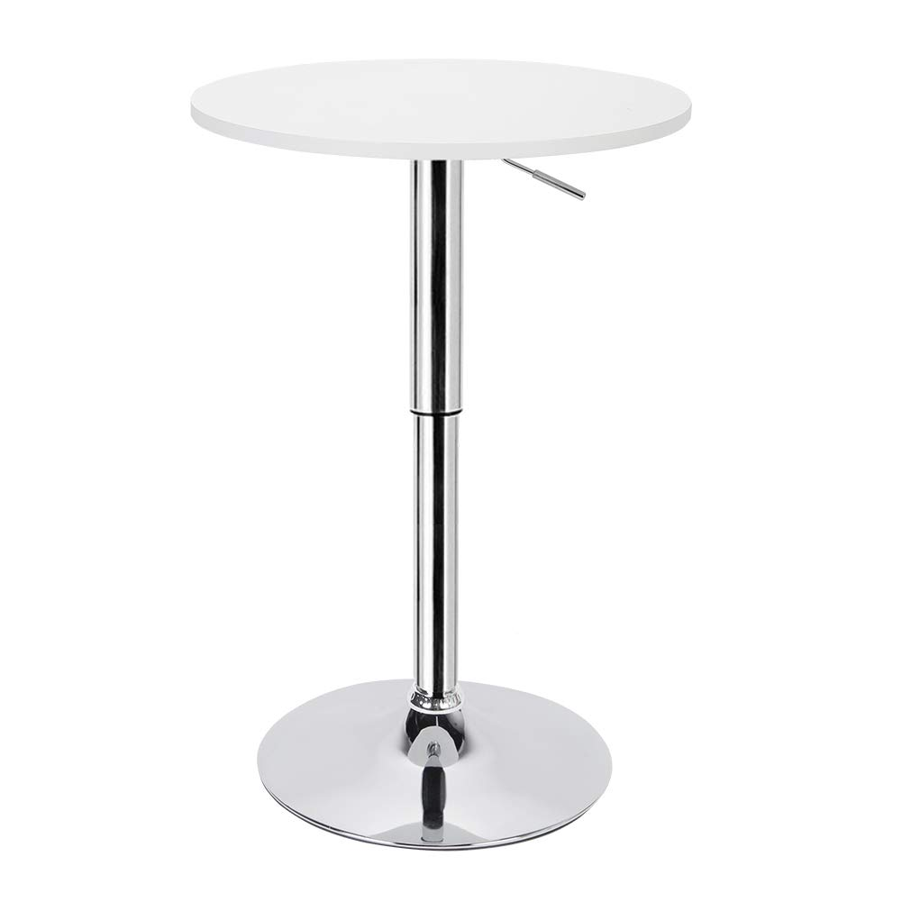 Greensen Height Adjustable Bar Round Table, White Metal Pub Table with Base, MDF Top Folding Bar High Table for Bar Home Coffee Shop, 360 Swivel by Greensen