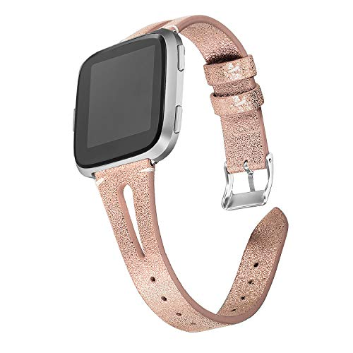 bayite Leather Bands Compatible with Fitbit Versa, Slim Wristband with Ventilated Hole Replacement Accessories Strap Versa Women Men, Rose Gold