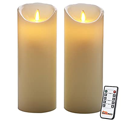 Homemory 9 Inch Flameless Timer Candle with Remote, Pack of 2 Realistic LED Flickering Votive Candle Power by Battery, Electric Pillar Candle with Moving Wick for Church, Spa, Table, Wall Sconce