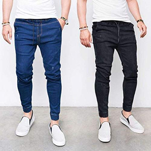 De Casuales con Tamaños Skiny Pantalones Los Fit De Elástica Bule Pantalones Slim Pantalones Hombres Cintura Dunkelblau1 De Cómodos Gris Jeans Ropa Cordón Pantalones Mezclilla Mezclilla 0B0wZqv