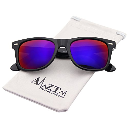 AMZTM Classic Square Retro Mirrored Lens Polarized Designer Wayfarer Sunglasses (Bright Black Frame Dark Purple Lens, - Wayfarer Purple