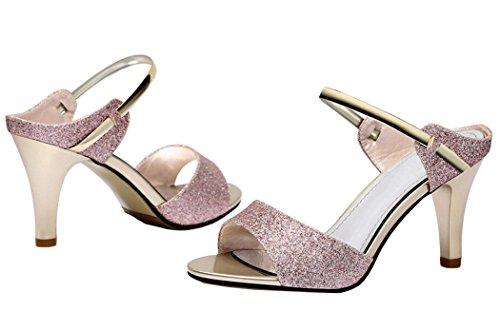 Passionow Christmas Women New Style Evening Dress Cute Platform Peep-toe Stilettos Heel Sandals(7 B(M)US, Violet)