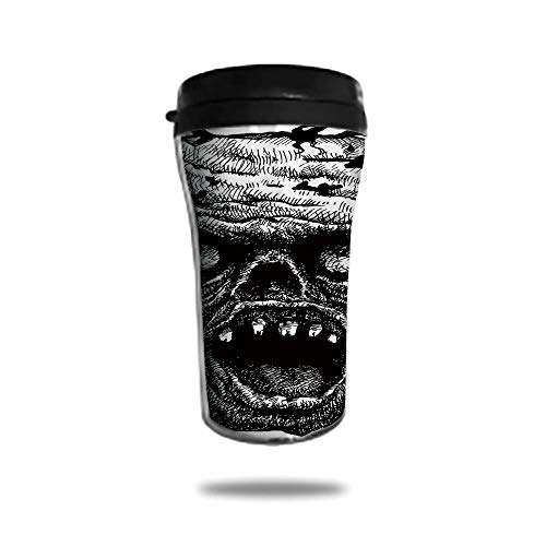 Customizable Travel Photo Mug with Lid - 8.45 OZ(250 ml)Stainless Steel Travel Tumbler, Makes a Great Gift by,Halloween,Zombie Head Evil Dead Man Portrait Fiction Creature Scary Monster Graphic,Black