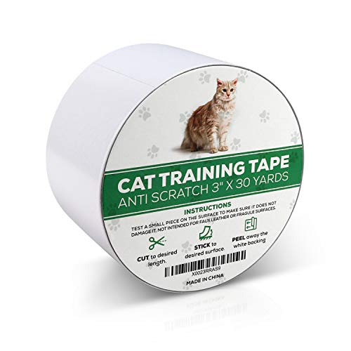 RETRO PUG Cat Training Tape - Scratch Deterrent - Anti-Scratch Adhesive Tape - Scratch Protector for Furniture, Couch, Carpet, Bed - Non-Toxic Safe Cat Scratch Prevention Tape - Pet Scratch Protector