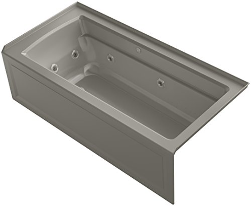 KOHLER 1949-XHGRA-K4 Archer 66-Inch x 32-Inch Alcove Whirlpool Bubble Massage Air Bath with Integral Apron, Tile Flange and Right-Hand Drain, Cashmere ()
