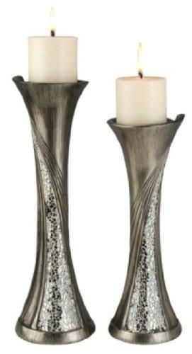 ORE International K-4218C Decorative Candleholder Set, Silver by ORE