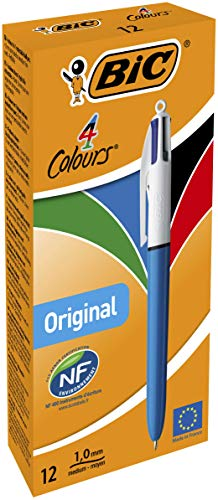 Bic - Refillable Ballpoint - Retractable Medium Point Four Ink Colours - Plastic Body - Set of 12