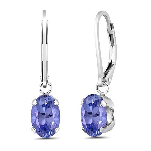 2.32 Ct Oval Blue Tanzanite 925 Sterling Silver Earrings by Gem Stone King