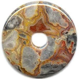 Agate Circle Pendant (Pi Stone - Crazy Lace Agate)