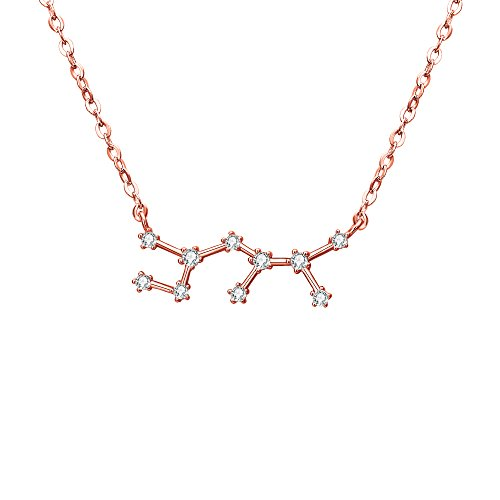 (BriLove Rose-Gold-Toned 925 Sterling Silver Necklace -