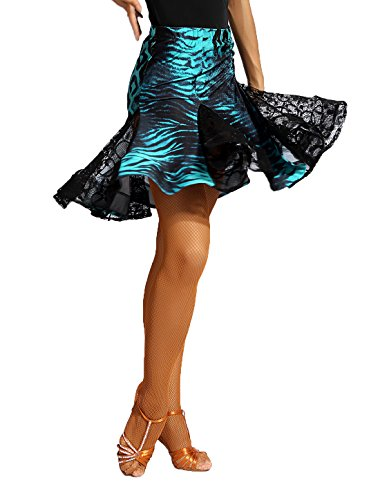 G2013 Latin Ballroom Dance Two-Colors Fishbone Lace Connected Skirt