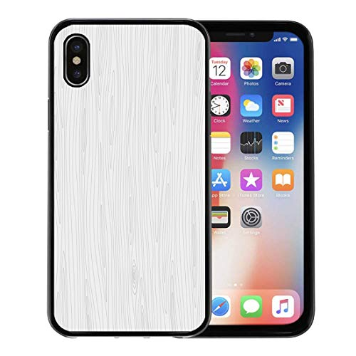Semtomn Phone Case for Apple iPhone Xs case,Gray Pattern Light Grey Wooden Grain Wood Raster Blank Board Dense for iPhone X Case,Rubber Border Protective Case,Black ()