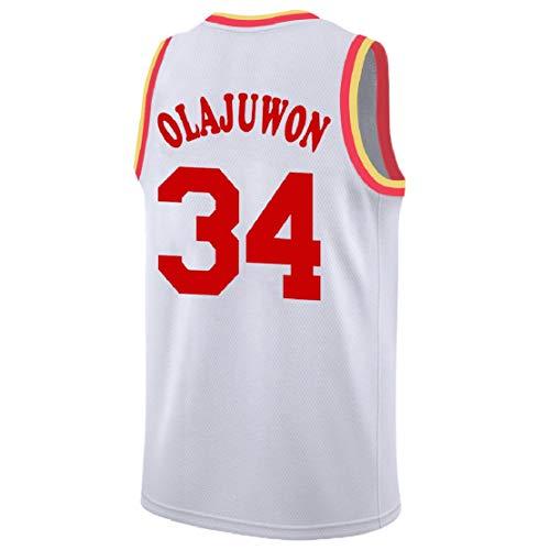 beeceda5458 Olajuwon Jersey Men s 34 Jersey Hakeem Basketball Jerseys White (XL)