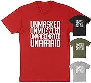 Unmasked Men's Apparel, Unmasked Unmuzzled Unvaccinated Unafraid Womens Shirt Flag America Shirt, Mens Tsh