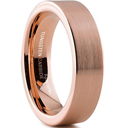 King Will Tungsten Carbide Wedding Band Ring 6mm 18K Rose Gold Plated Pipe Cut Brush Polish Finish 9.5