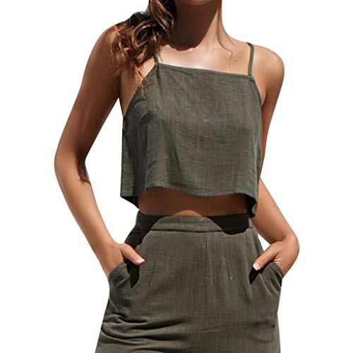 Sunhusing Women Pure Color Zipper Strappy Camisole Vest Sexy Tops Casual Joker Blouse Shirt Army Green ()