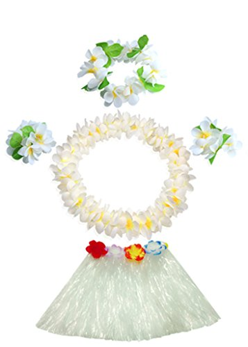 (Fighting to Achieve 30cm White Grass Skirt with Flowers Bracelets Headband Necklace Hula Set)