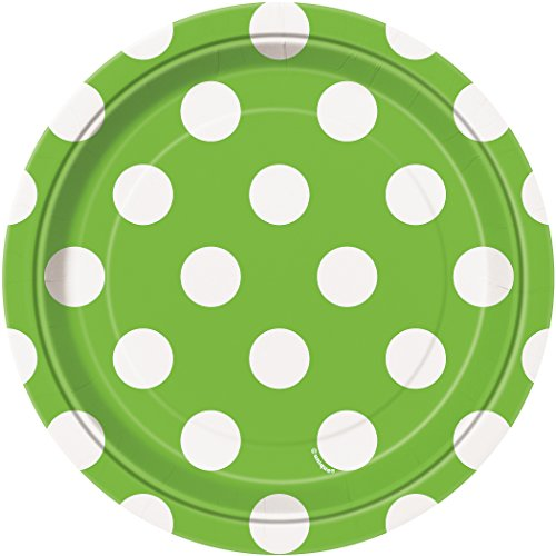 Lime Green Polka Dot Paper Cake Plates, 8ct]()