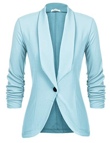 Beyove Women's 3/4 Stretchy Ruched Sleeve Open Front Lightweight Work Office Blazer Jacket Light Blue L
