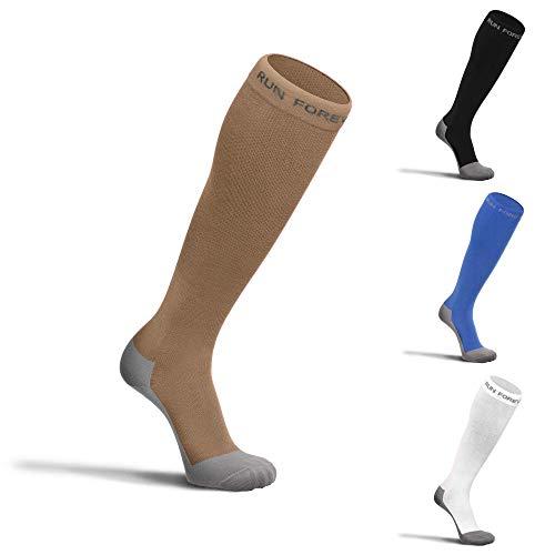 Compression Socks for Men & Women - Best (20-30mmHg) Medical Grade Graduated Recovery Stockings for Nurses, Maternity, Travel, Running, Leg Relief, Swelling, Calf Pain, Shin Splints (XL, Beige)