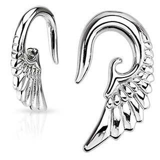 Earrings Rings 316L Surgical Steel Angelic Wing Hanging Taper 2 Gauge - Sold as a pair Body Accentz Plugs HO1045TSPR8.jpg