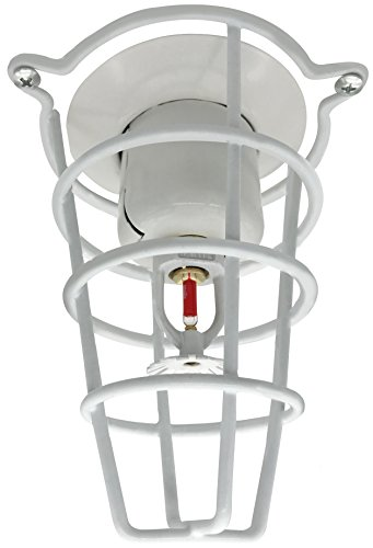 "(2 Pack) White Fire Sprinkler Head Guard for Both 1/2"" & 3/4"" Sprinkler Head 6"" Deep Cage"