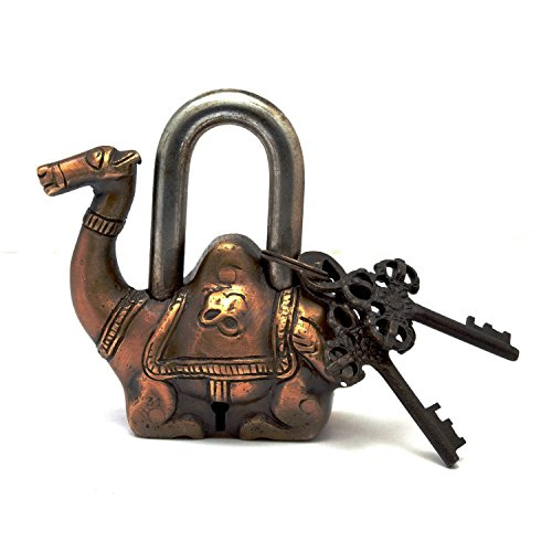 PARIJAT HANDICRAFT Functional Brass Beautiful Padlocks with Two Keys Pad Lock Brass Camel Shaped with Antique Finishes