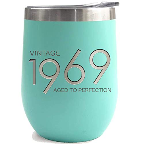 1969 50th Birthday Gifts for Women Men | Teal 12 oz Insulated Stainless Steel Tumbler | 50 Year Old Presents for Mom Dad Wife Husband Son Daughter | Party Decorations Supplies Tumblers Gift 50 th bday