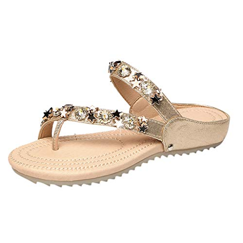 ✔ Hypothesis_X ☎ Women's Crystal with Rhinestone Bohemia Flip Flops Summer Beach Set Toe Flat Sandals Gold]()