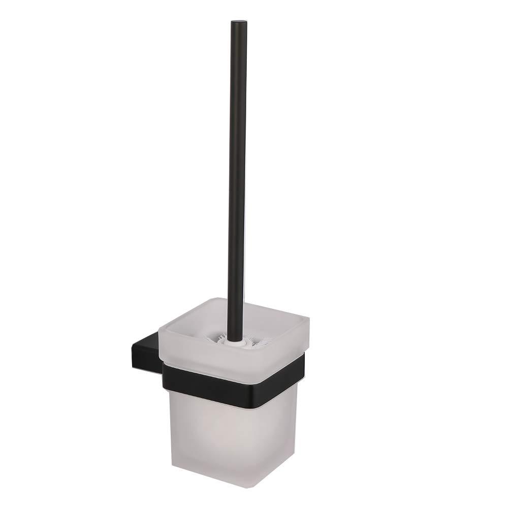 LANC Bathroom Toilet Brush Holder with Tempered Glass Holder Organizer Storage Modern Hotel Style Wall Mount Black Finish, A8916BK